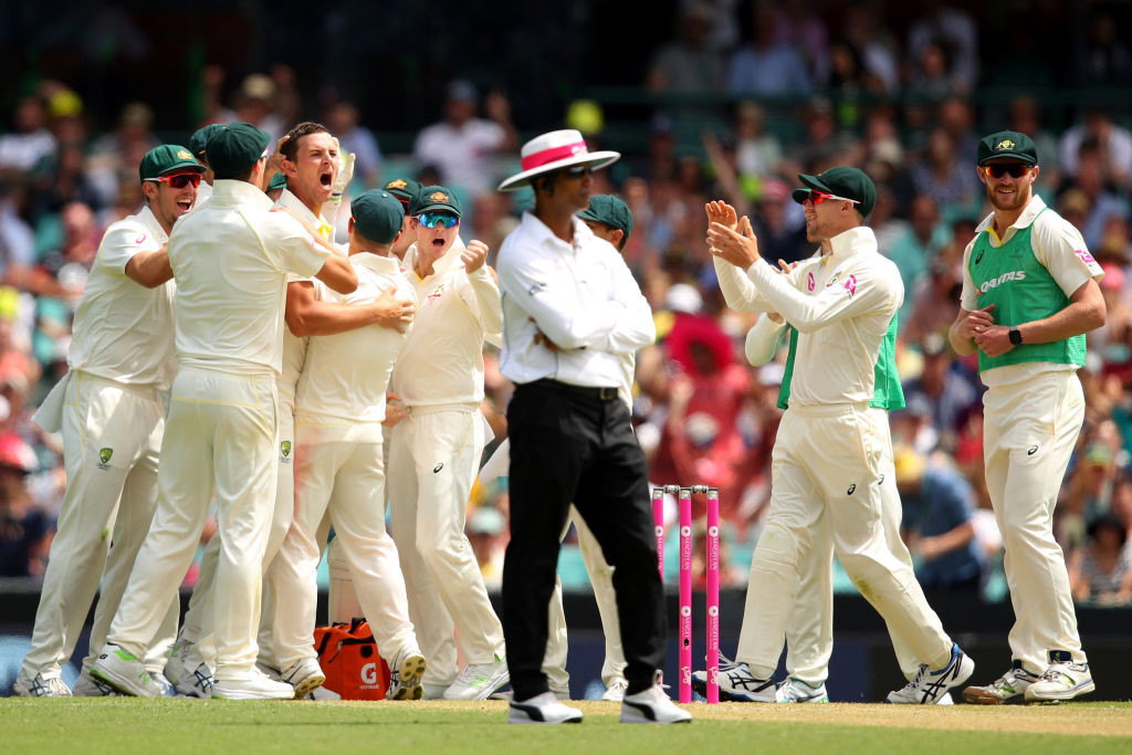Hazlewood celebrates the dismissal of Alastair Cook.