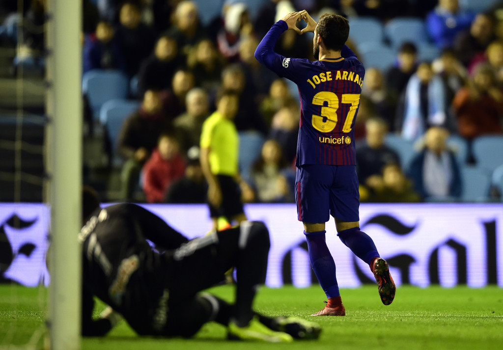 Barcelona's Spanish forward Jose Arnaiz celebrates after scoring a goal during the Spanish Copa del Rey (King's Cup) football match RC Celta de Vigo vs FC Barcelona at the Balaidos stadium in Vigo on January 4, 2018. / AFP PHOTO / MIGUEL RIOPA (Photo credit should read MIGUEL RIOPA/AFP/Getty Images)