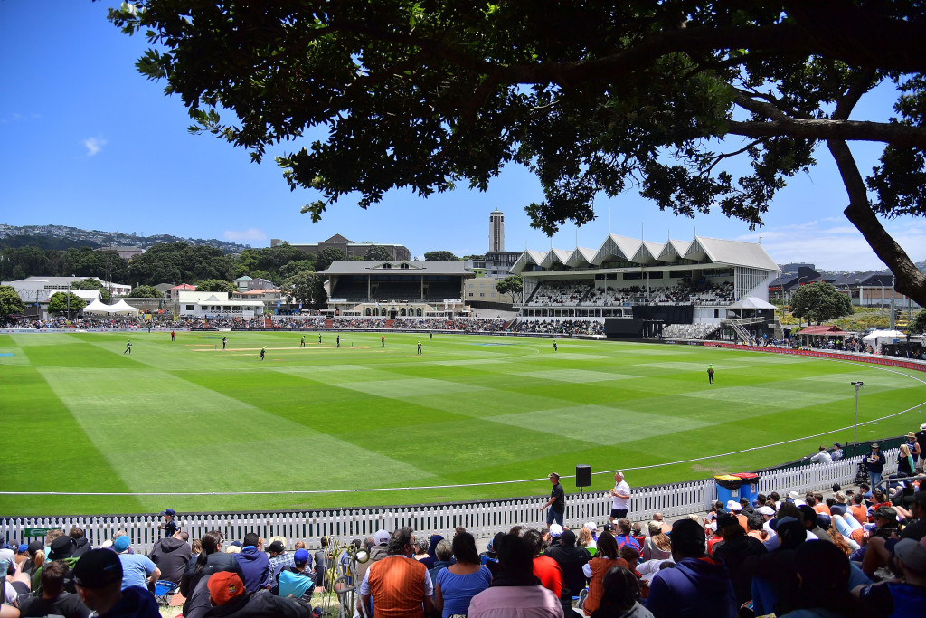 Spectators watch the first one day international cricket match between New Zealand and Pakistan at the Basin Reserve in Wellington on January 6, 2018. / AFP PHOTO / Marty MELVILLE (Photo credit should read MARTY MELVILLE/AFP/Getty Images)