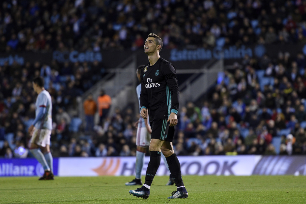 VIGO, SPAIN - JANUARY 07: Cristiano Ronaldo of Real Madrid reacts after missing a goal opportunity during the La Liga match between RC Celta de Vigo and Real Madrid at Municipal Balaidos on January 7, 2018 in Vigo, . (Photo by Octavio Passos/Getty Images)