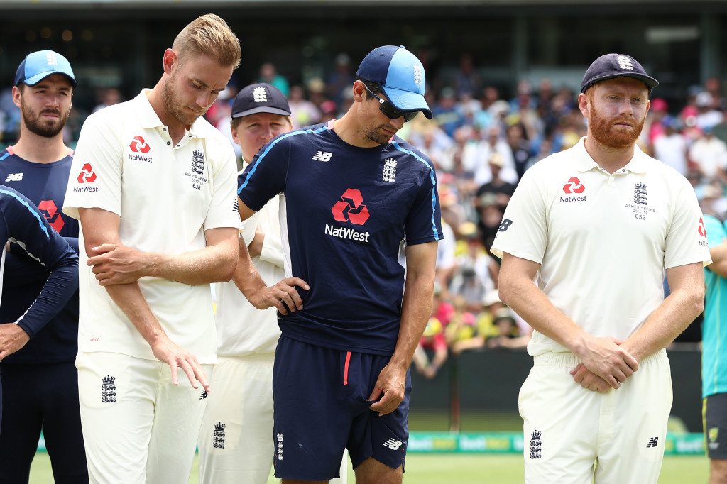 SYDNEY, AUSTRALIA - JANUARY 08: Stuart Broad; Alastair Cook and Jonny Bairstow of England look on during the presentation during day five of the Fifth Test match in the 2017/18 Ashes Series between Australia and England at Sydney Cricket Ground on January 8, 2018 in Sydney, Australia. (Photo by Ryan Pierse/Getty Images)