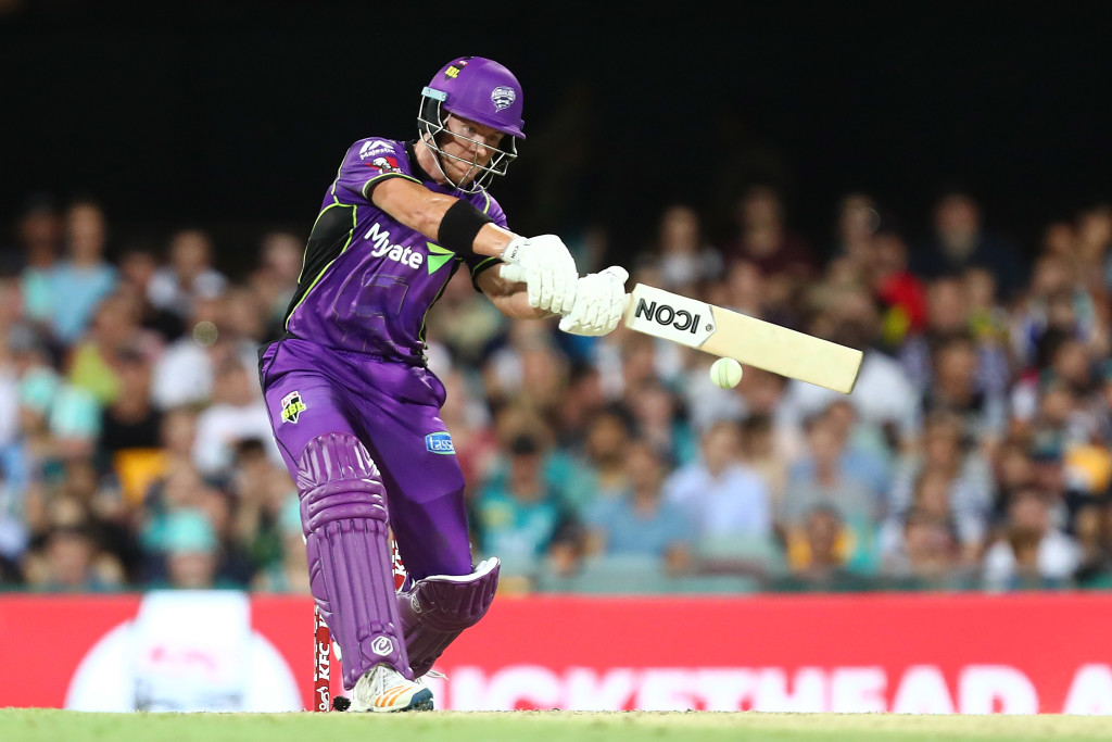 BRISBANE, AUSTRALIA - JANUARY 10: D'Arcy Short of the Hurricanes bats during the Big Bash League match between the Brisbane Heat and the Hobart Hurricanes at The Gabba on January 10, 2018 in Brisbane, Australia. (Photo by Chris Hyde/Getty Images)
