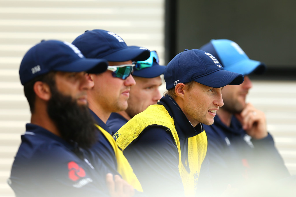 SYDNEY, AUSTRALIA - JANUARY 11: Joe Root of England looks on during the One Day Tour Match between the Cricket Australia XI and England at Drummoyne Oval on January 11, 2018 in Sydney, Australia. (Photo by Jason McCawley/Getty Images)
