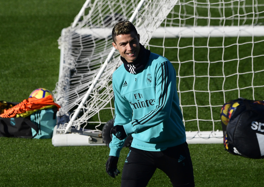 Real Madrid's Portuguese forward Cristiano Ronaldo attends a training session at Valdebebas sport city in Madrid on January 12, 2018 on the eve of a Spanish Liga football match against Villarreal. / AFP PHOTO / PIERRE-PHILIPPE MARCOU        (Photo credit should read PIERRE-PHILIPPE MARCOU/AFP/Getty Images)
