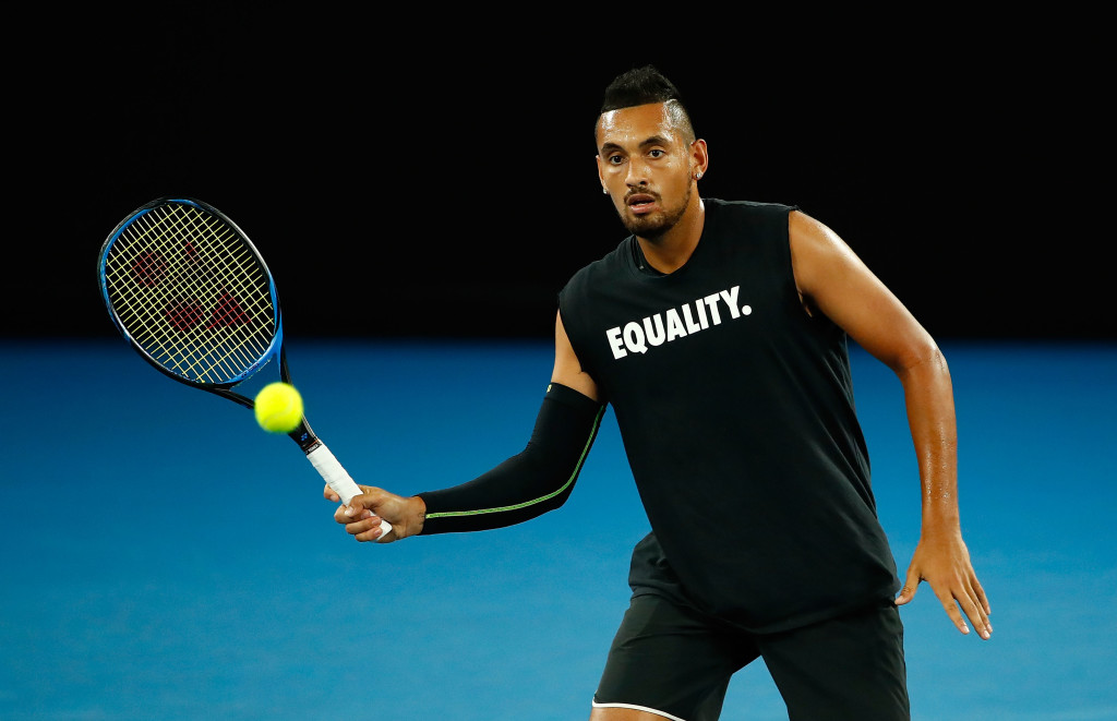 MELBOURNE, AUSTRALIA - JANUARY 13: Nick Kyrgios of Australia plays a shot while wearing an Equality shirt during a practice session ahead of the 2018 Australian Open at Melbourne Park on January 13, 2018 in Melbourne, Australia. (Photo by Scott Barbour/Getty Images)