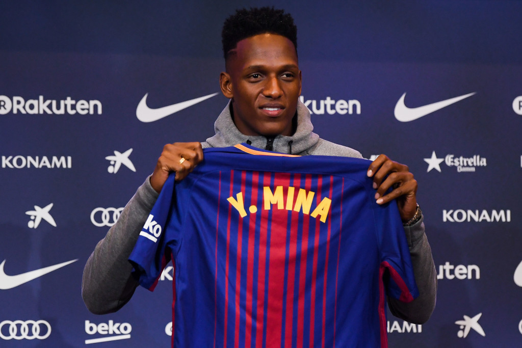 BARCELONA, SPAIN - JANUARY 13: New FC Barcelona player Yerry Mina is unveiling at Nou Camp on January 13, 2018 in Barcelona, Spain. The Colombian player signed from Palmerias, has agreed a deal with the Catalan club until 2022 season. (Photo by David Ramos/Getty Images)