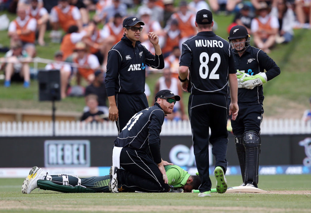 Malik was struck on the head by Munro's throw during the fourth ODI