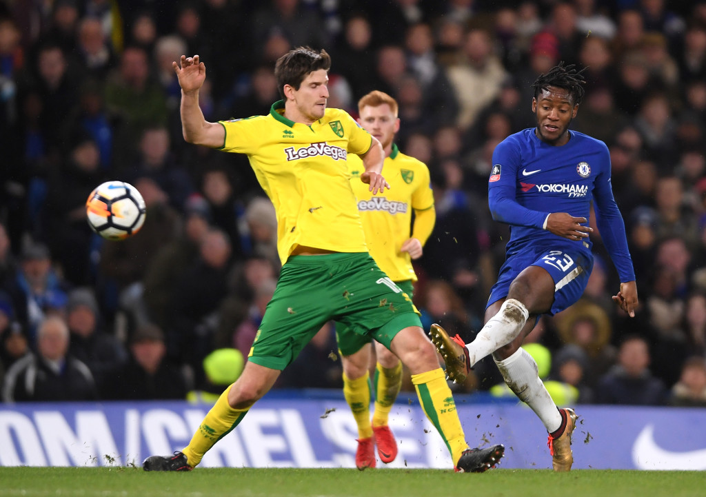LONDON, ENGLAND - JANUARY 17: Michy Batshuayi of Chelsea shoots wide during The Emirates FA Cup Third Round Replay between Chelsea and Norwich City at Stamford Bridge on January 17, 2018 in London, England. (Photo by Mike Hewitt/Getty Images)