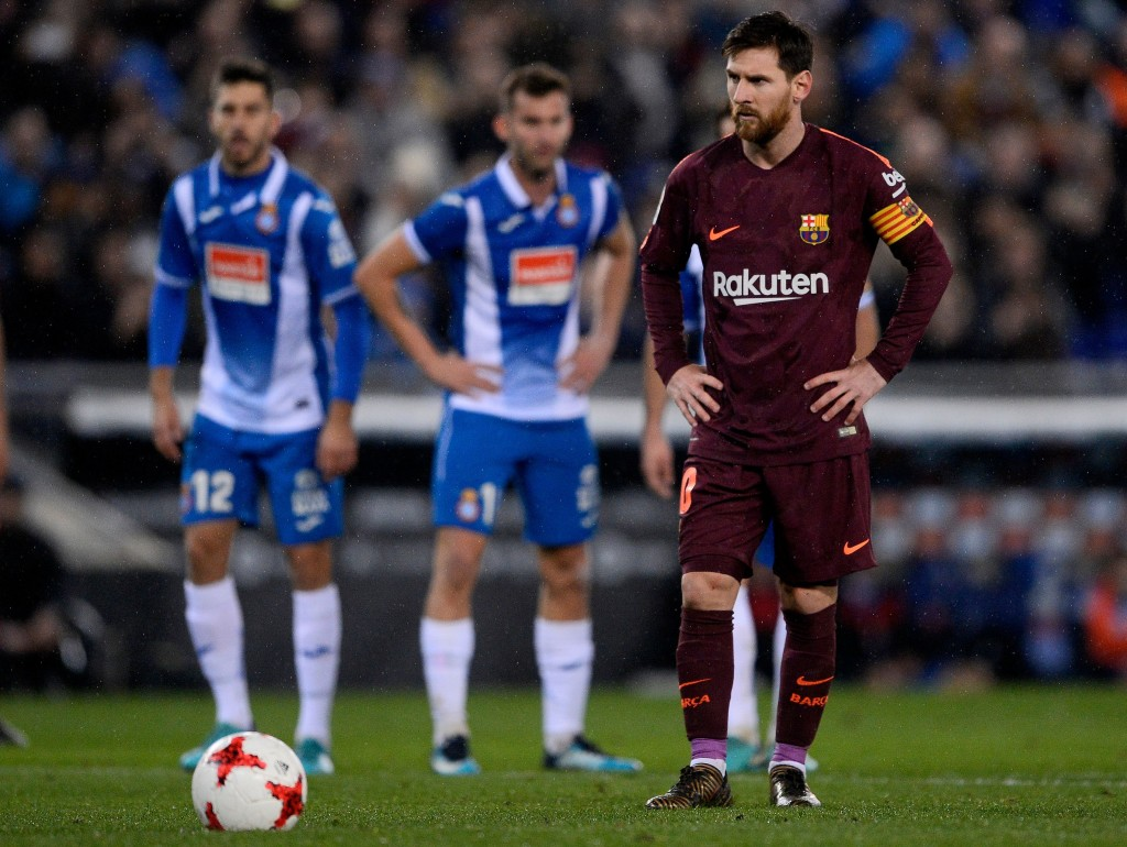 Barcelona's Argentinian forward Lionel Messi prepares to shoot a penalty kick during the Spanish 'Copa del Rey' (King's cup) quarter-final first leg football match between RCD Espanyol and FC Barcelona atthe RCDE Stadium in Cornella de Llobregat on January 17, 2018. / AFP PHOTO / Josep LAGO (Photo credit should read JOSEP LAGO/AFP/Getty Images)