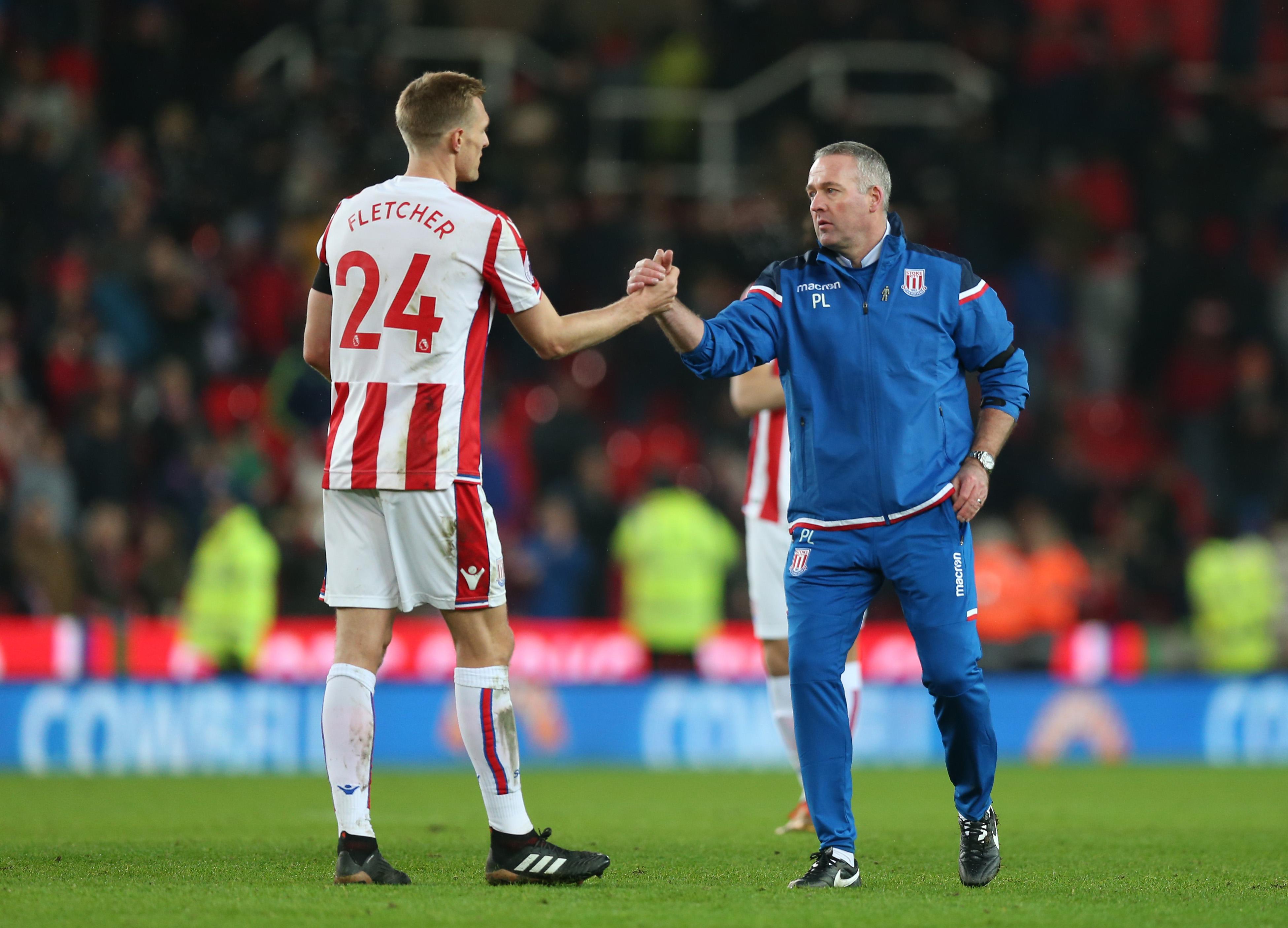 New Stoke manager Paul Lambert (r).