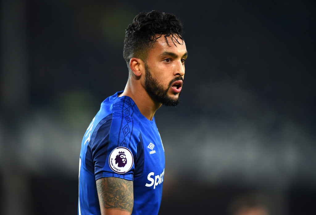 LIVERPOOL, ENGLAND - JANUARY 20: Theo Walcott of Everton looks on during the Premier League match between Everton and West Bromwich Albion at Goodison Park on January 20, 2018 in Liverpool, England. (Photo by Tony Marshall/Getty Images)