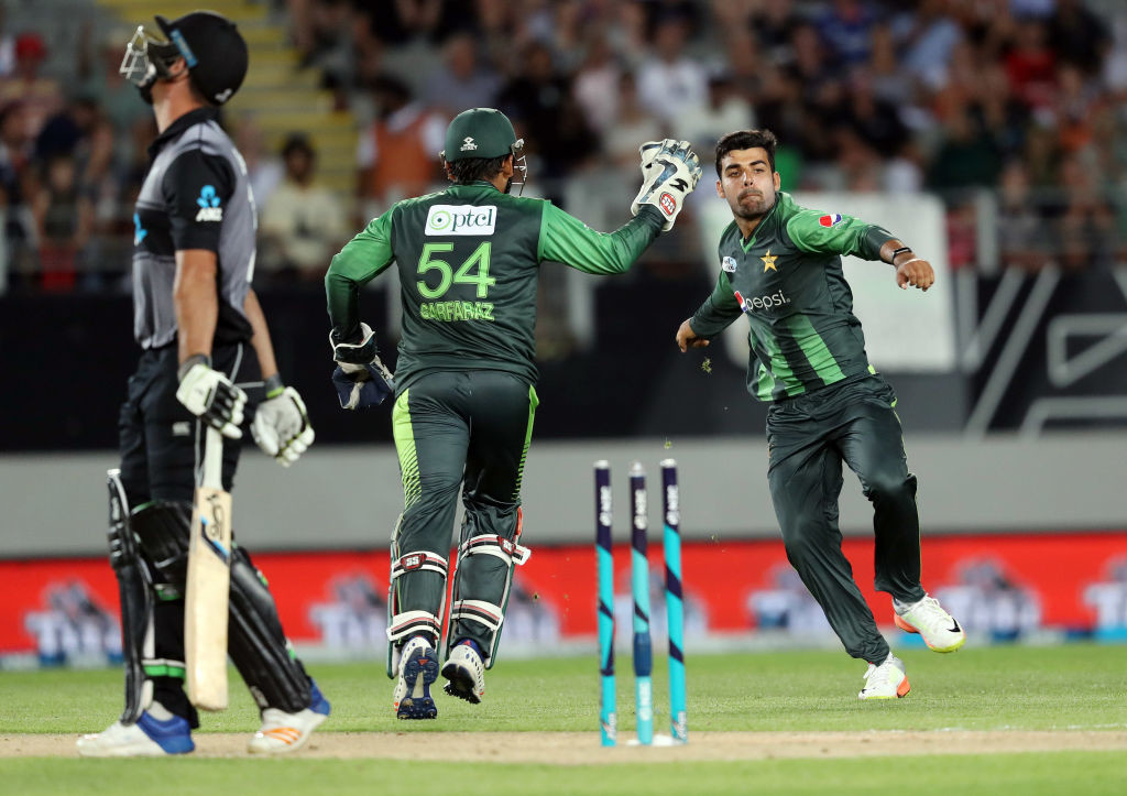 Shadab's double strike all but ended New Zealand's hopes.