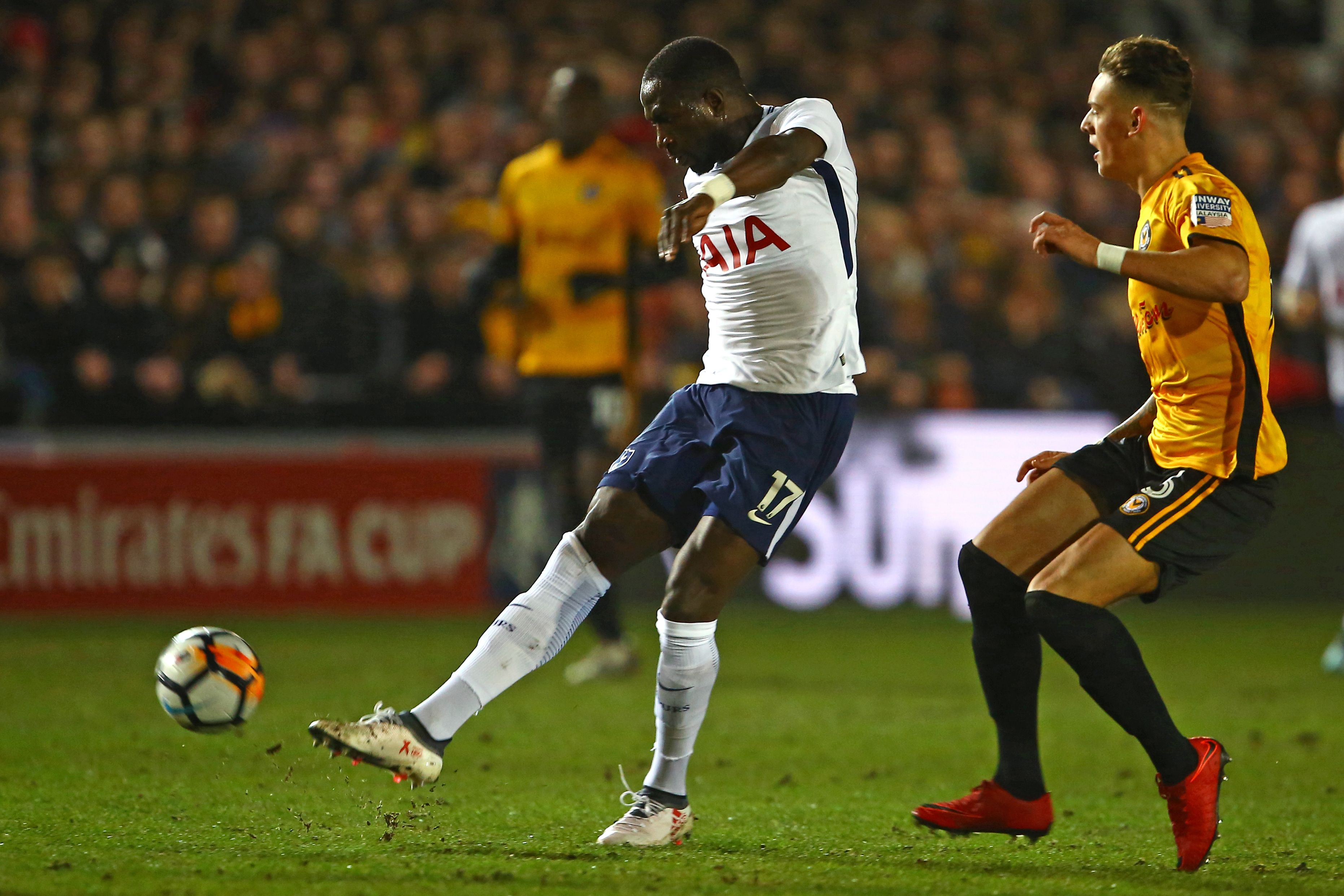 Moussa Sissoko has an unsuccessful shot against Newport County.