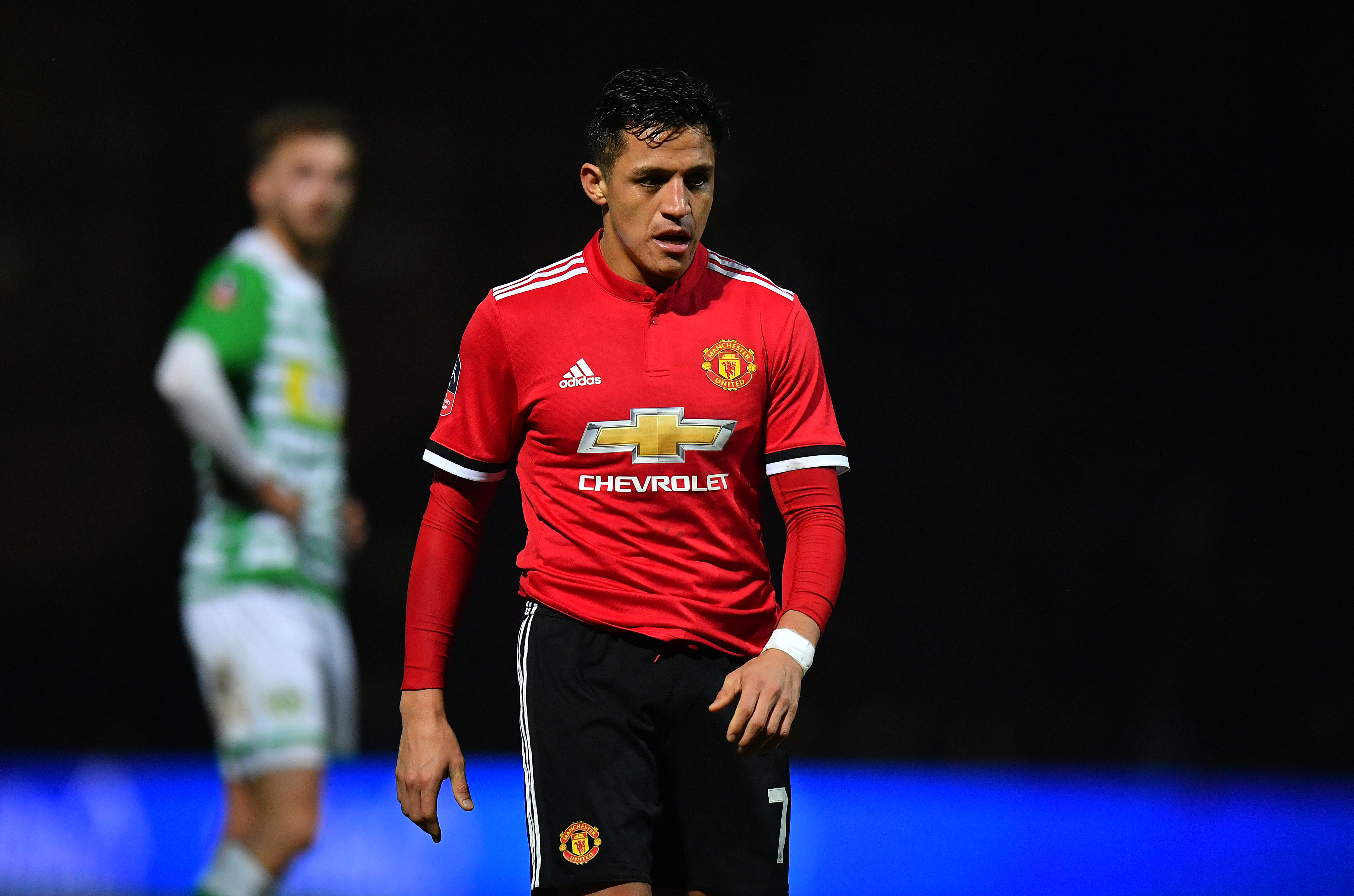 Alexis Sanchez on debut at Yeovil Town.