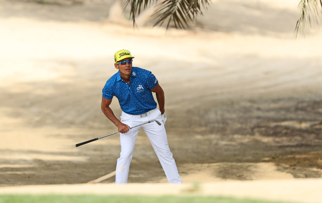 DUBAI, UNITED ARAB EMIRATES - JANUARY 28:  Rafa Cabrera Bello of Spain plays his second shot on the par 4, 14th hole during the final round of the Omega Dubai Desert Classic on the Majlis Course at Emirates Golf Club on January 28, 2018 in Dubai, United Arab Emirates.  (Photo by David Cannon/Getty Images)