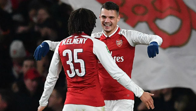 Granit Xhaka celebrates the second goal for Arsenal.