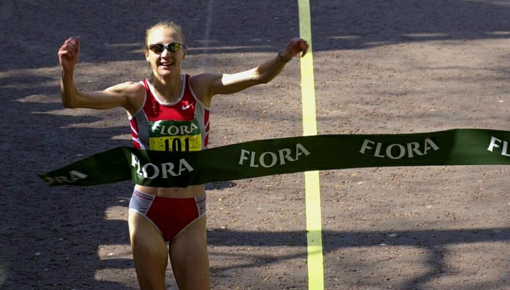 Paula Radcliffe setting the Marathon world record in London in 2003.