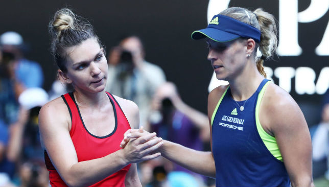 Angelique Kerber congratulates Simona Halep on her victory.