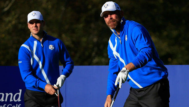 Thomas Bjorn (r) has been impressed by Rory McIlroy this month