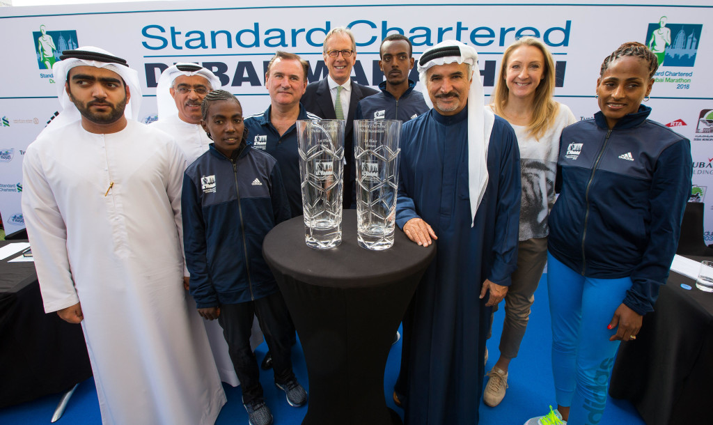 Officials and competitors alongside Paula Radcliffe at Wednesday's press conference
