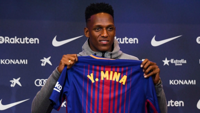 Barcelona unveil Yerry Mina at Nou Camp with Colombian going barefoot