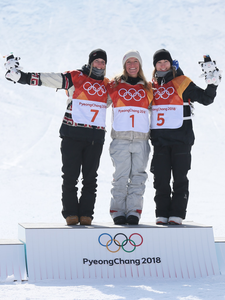 Jamie Anderson won gold, Laurie Blouin silver and Enni Rukajarvi bronze.