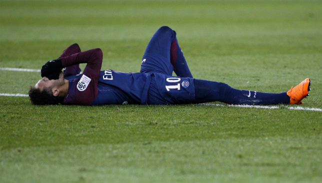 Neymar was stretchered off with an ankle injury on Sunday.