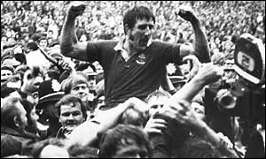Llanelli skipper Delme Thomas is carried shoulder-high from Stradey Park after the famous 1972 victory over the All Blacks.