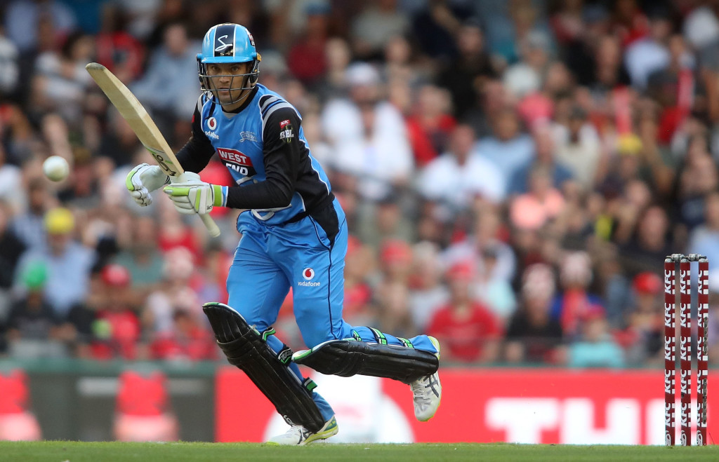MELBOURNE, AUSTRALIA - JANUARY 22: Adelaide Strikers Alex Carey bats during the Big Bash League match between the Melbourne Renegades and the Adelaide Strikers at Etihad Stadium on January 22, 2018 in Melbourne, Australia. (Photo by Pat Scala/Getty Images)