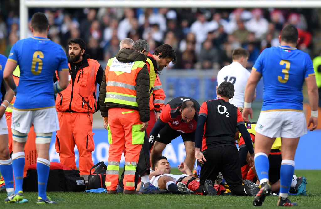 Premature end: Ben Youngs suffered a nasty looking injury.