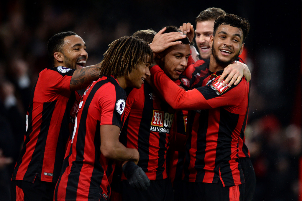 BOURNEMOUTH, ENGLAND - FEBRUARY 03: Lys Mousset of AFC Bournemouth celebrates scoring his side's second goal with team mates during the Premier League match between AFC Bournemouth and Stoke City at Vitality Stadium on February 3, 2018 in Bournemouth, England. (Photo by Harry Trump/Getty Images)
