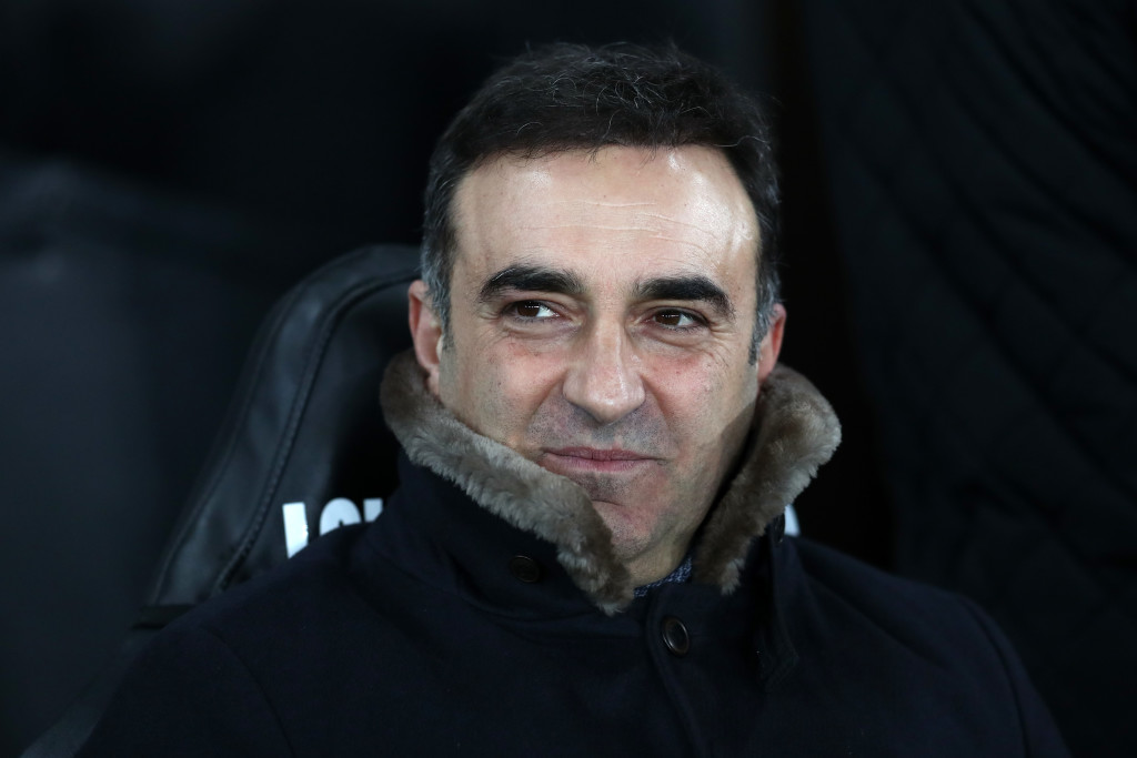 SWANSEA, WALES - FEBRUARY 06: Carlos Carvalhal, Manager of Swansea City looks on during The Emirates FA Cup Fourth Round match between Swansea City and Notts County at the Liberty Stadium on February 6, 2018 in Swansea, Wales. (Photo by Catherine Ivill/Getty Images)