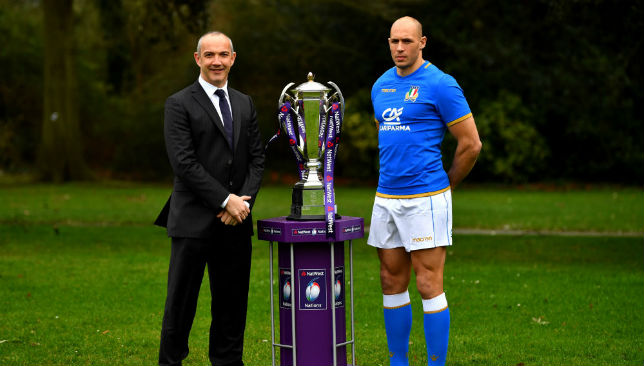 Conor O'Shea, Head Coach of Italy and Sergio Parisse