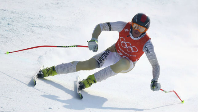 Hungary's Dalibor Samsal makes a run during the Men's Downhill third Training.