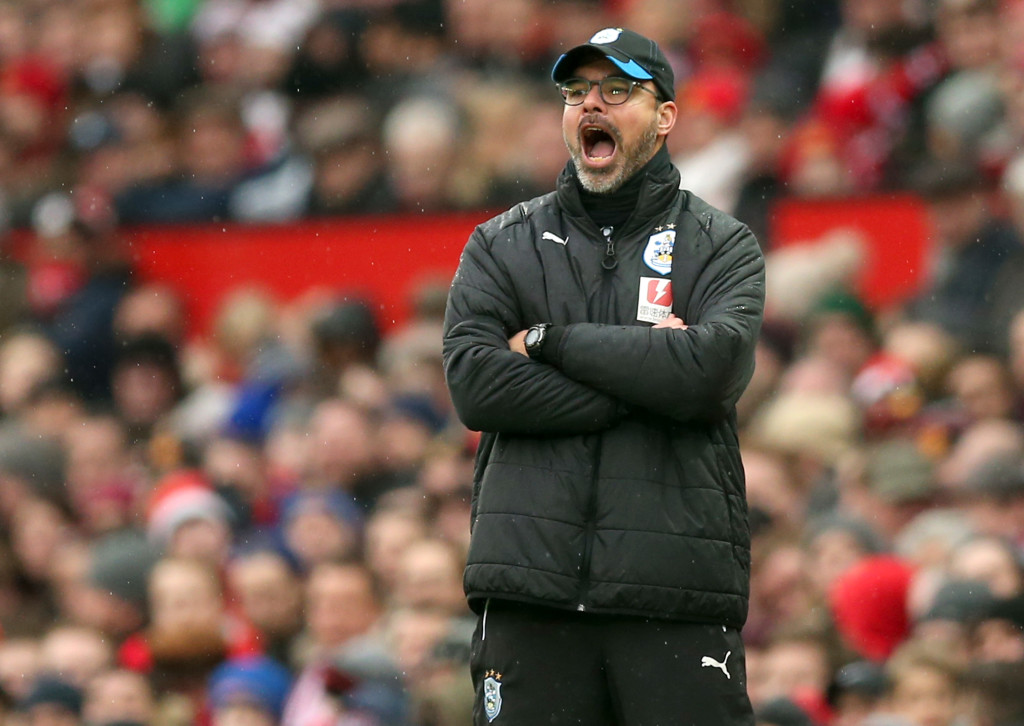 MANCHESTER, ENGLAND - FEBRUARY 03: David Wagner, Manager of Huddersfield Town reacts during the Premier League match between Manchester United and Huddersfield Town at Old Trafford on February 3, 2018 in Manchester, England. (Photo by Alex Morton/Getty Images)