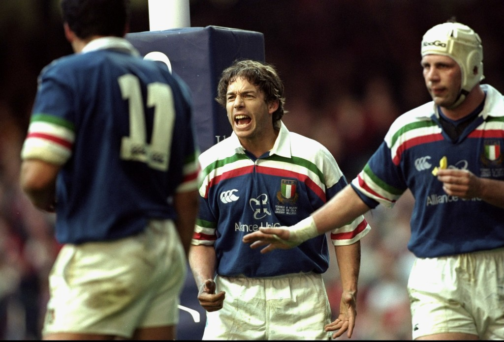Diego Dominguez of Italy encourages his teammates during the Six Nations Championship match against Wales played at the Millennium Stadium in Cardiff, Wales. Wales won the game 47-16. Mandatory Credit: Michael Steele /Allsport