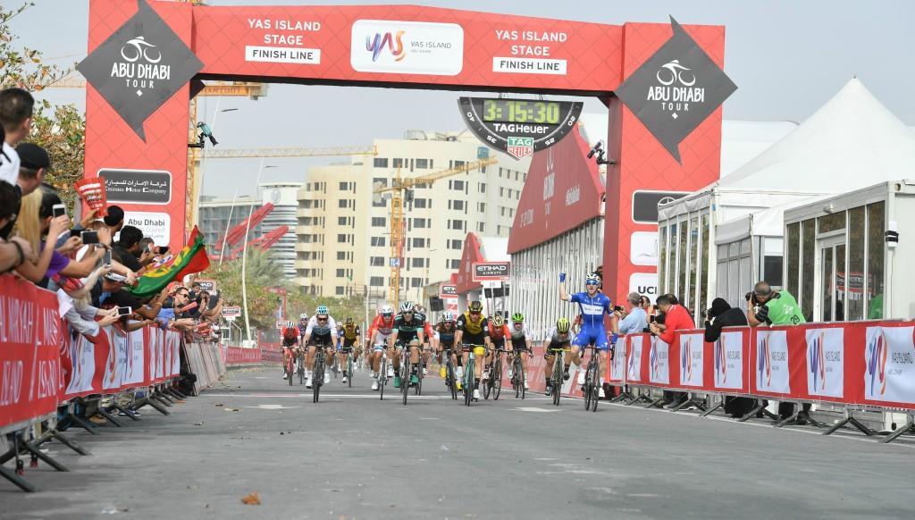 Elia Viviani celebrates winning Stage 2 of the Abu Dhabi Tour in February.