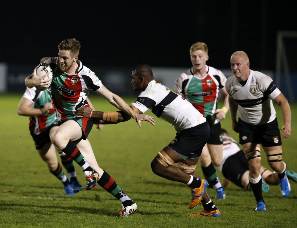 Abu Dhabi Harlequins and Dubai Exiles players clashing last season (Chris Whiteoak).