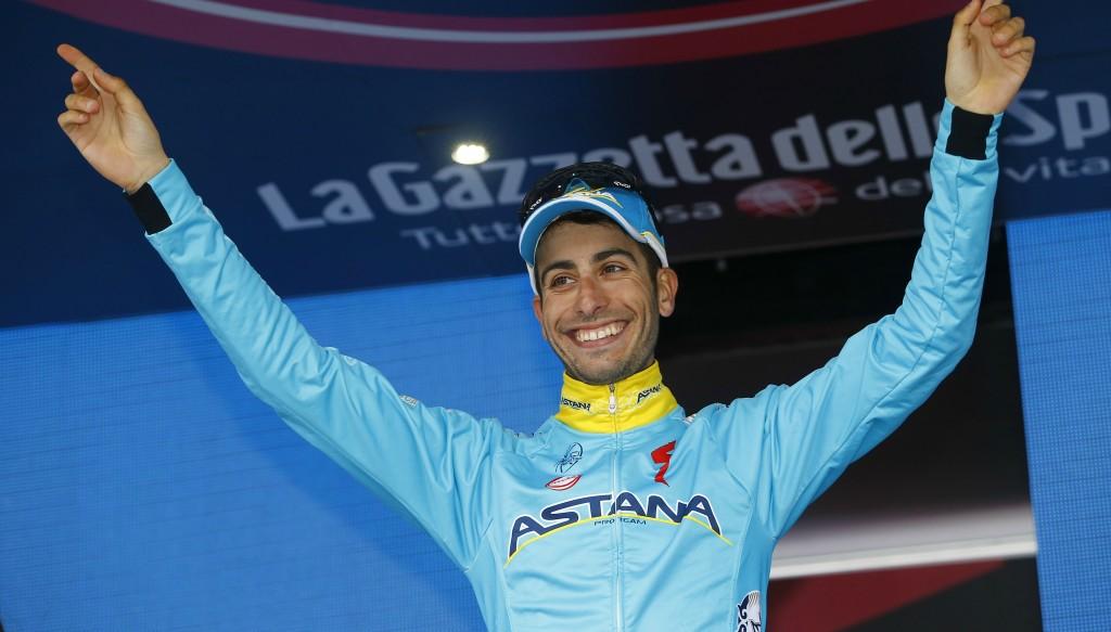 Fabio Aru winning the Giro d'Italia in 2015. He's now a UAE Team Emirates rider.
