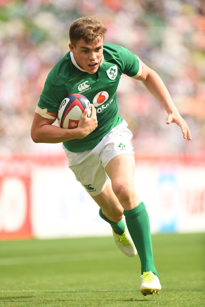 FUKUROI, JAPAN - JUNE 17: Garry Ringrose of Ireland runs with the ball during the international rugby friendly match between Japan and Ireland at Shizuoka Stadium on June 17, 2017 in Fukuroi, Japan. (Photo by Atsushi Tomura/Getty Images)