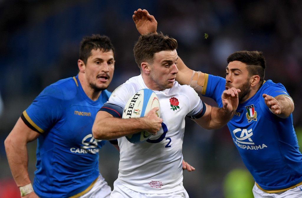 George Ford on the way to scoring his side's fifth try against Italy.