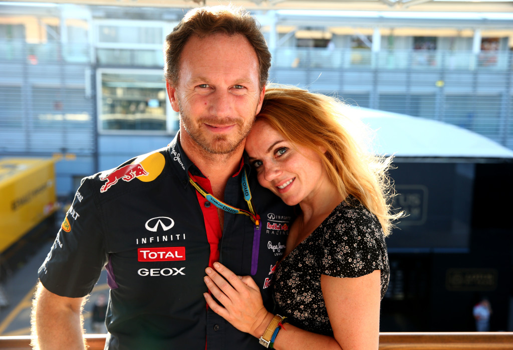 MONZA, ITALY - SEPTEMBER 07: Infiniti Red Bull Racing Team Principal Christian Horner and Geri Halliwell pose after the F1 Grand Prix of Italy at Autodromo di Monza on September 7, 2014 in Monza, Italy. (Photo by Mark Thompson/Getty Images)