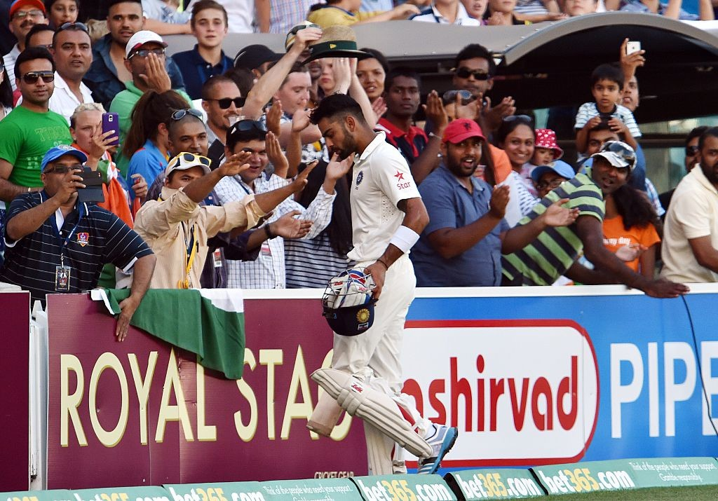 Kohli takes in the applause after his fourth-innings heroics.
