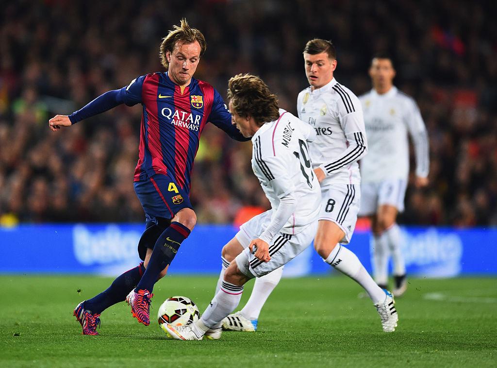 Ivan Rakitic (L), Luka Modric (C) and Toni Kroos (R)