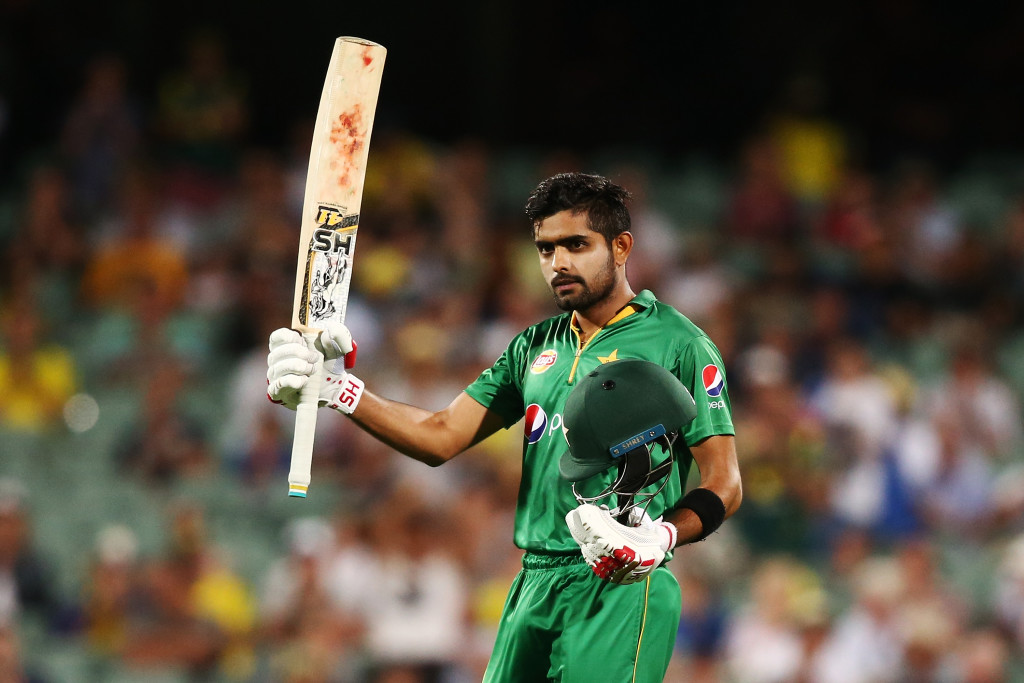 ADELAIDE, AUSTRALIA - JANUARY 26: Babar Azam of Pakistan celebrates after reaching 100 runs during game five of the One Day International series between Australia and Pakistan at Adelaide Oval on January 26, 2017 in Adelaide, Australia. (Photo by Morne de Klerk/Getty Images)