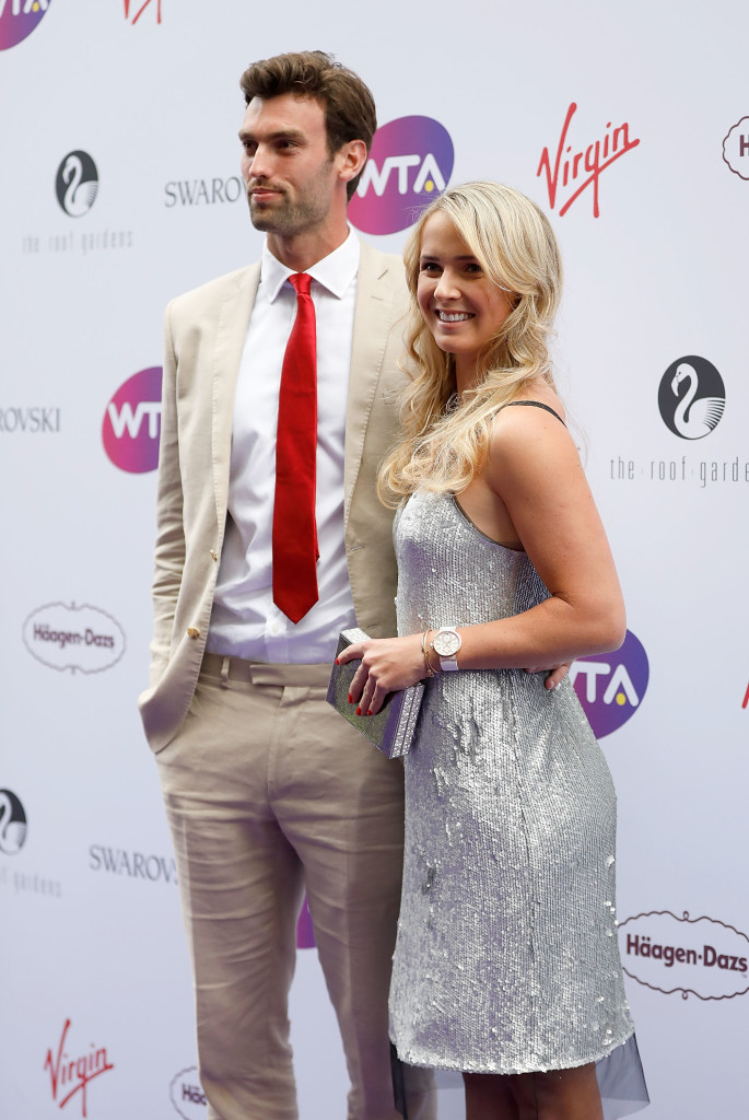 LONDON, ENGLAND - JUNE 29: Elina Svitolina and Reece Topley attend the annual WTA Pre-Wimbledon Party at The Roof Gardens, Kensington on June 29, 2017 in London, United Kingdom. (Photo by Tristan Fewings/Tristan Fewings/Getty Images for WTA)