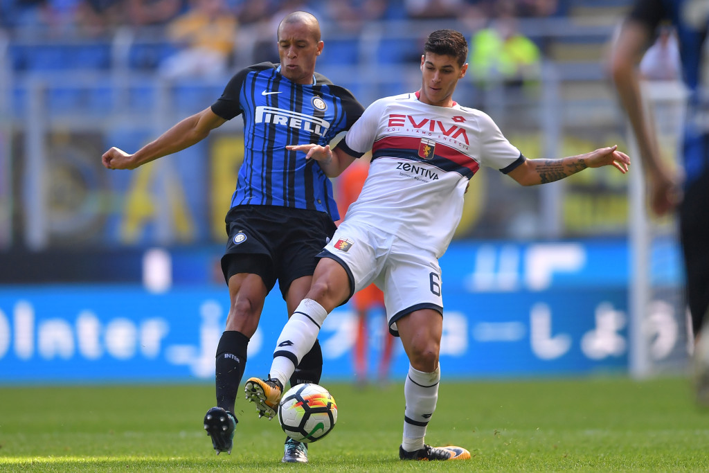Inter Milan's Brazilian defender Miranda (L)vies with Genoa's Italian forward Pietro Pellegri during the Italian Serie A football match Inter Milan vs Genoa at the San Siro stadium in Milan on September 24, 2017. / AFP PHOTO / MARCO BERTORELLO (Photo credit should read MARCO BERTORELLO/AFP/Getty Images)