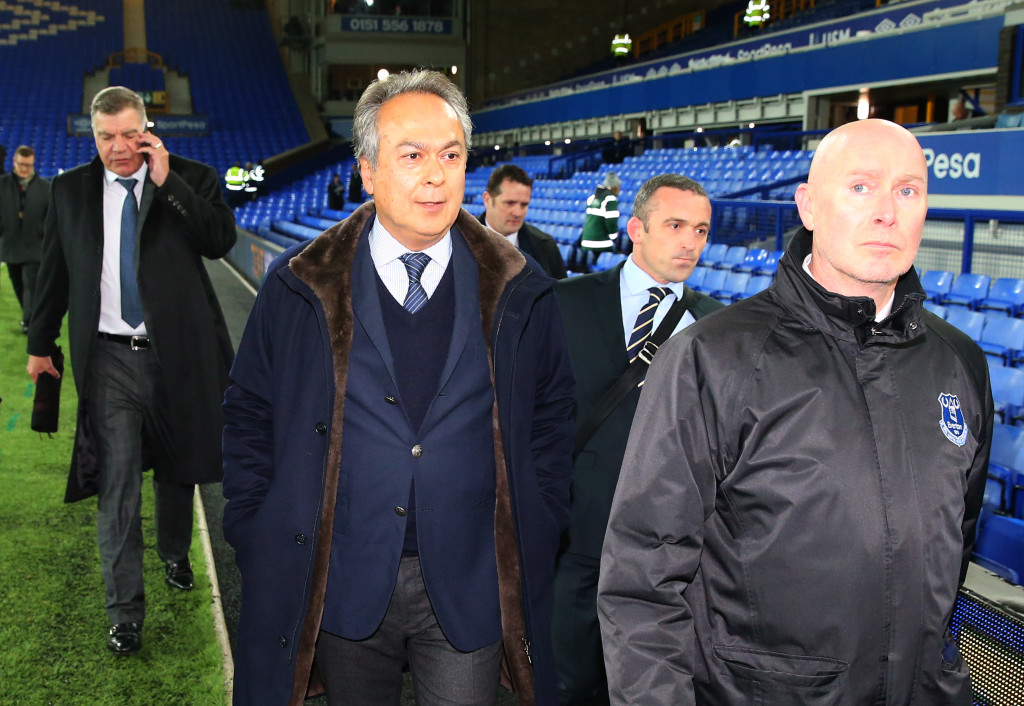 LIVERPOOL, ENGLAND - NOVEMBER 29: Farhad Moshiri, owner of Everton (C) and Sam Allardyce (L) are seen arriving at the stadium together prior to the Premier League match between Everton and West Ham United at Goodison Park on November 29, 2017 in Liverpool, England. (Photo by Alex Livesey/Getty Images)