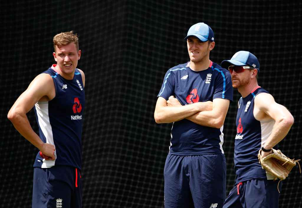 MELBOURNE, AUSTRALIA - DECEMBER 23: Jake Ball, Craig Overton and Paul Collingwood of England look on during an England nets session at the Melbourne Cricket Ground on December 23, 2017 in Melbourne, Australia. (Photo by Scott Barbour/Getty Images)