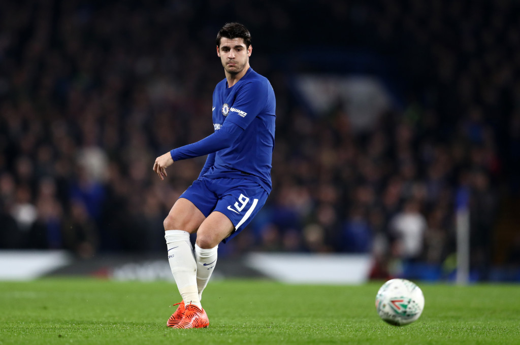 LONDON, ENGLAND - JANUARY 10: Alvaro Morata of Chelsea during the Carabao Cup Semi-Final First Leg match between Chelsea and Arsenal at Stamford Bridge on January 10, 2018 in London, England. (Photo by Catherine Ivill/Getty Images)